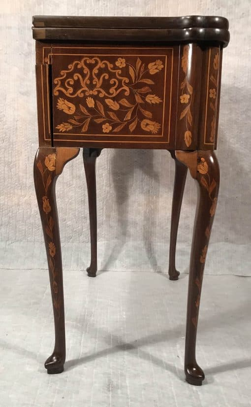 Dutch Card Table- side view with marquetry- styylish