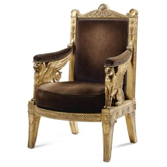 French Furniture - An Imperial carved giltwood ceremonial armchair