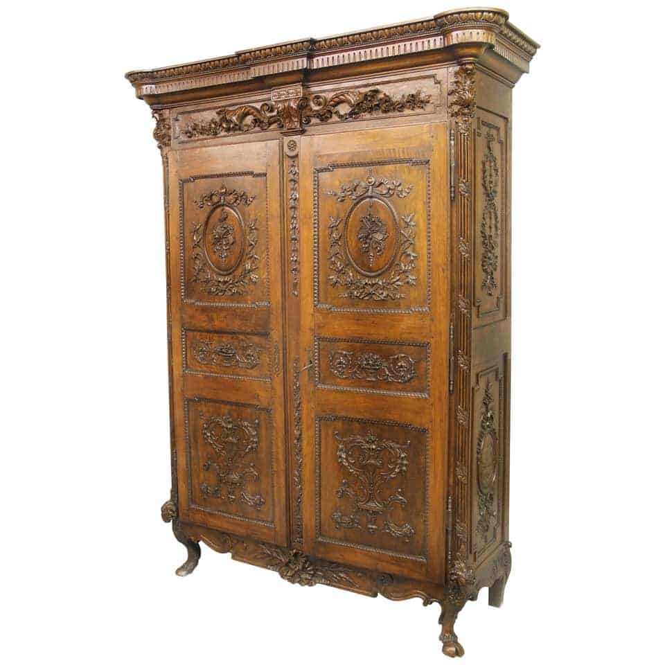 Armoire - Louis XVI Hand Carved Walnut And Mahogany Armoire