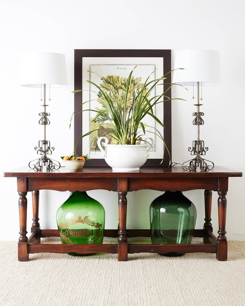 Baroque Period - Antique Wood Table With Green Accents And Foliage
