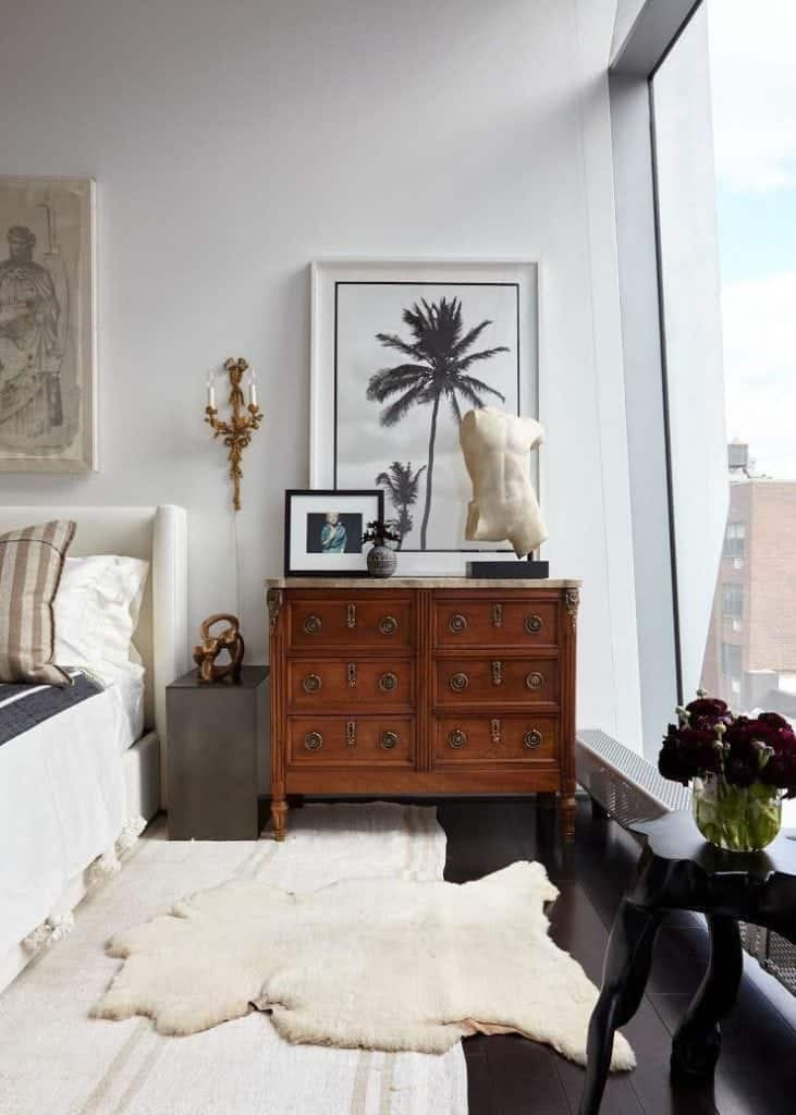 sustainable-furniture-antique=chest-of-drawers-in-contemporary-bedroom