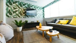 Wallpapers in modern interior designs- leaves- styylish