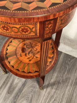 Antique side table- side view with leg- styylish