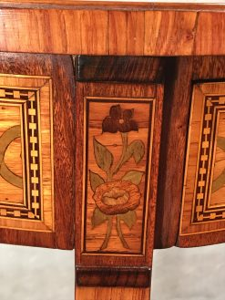 Antique side table- detail of flower marquetry- styylish
