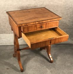 Biedermeier sewing table- view with open drawer- styylish