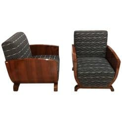 Pair of Art Deco Club Chairs, Walnut Veneer, France, circa 1930