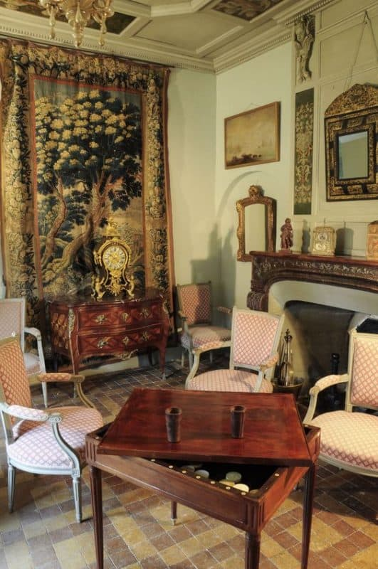 Interior with antique game table