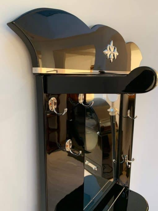 Art Deco Wardrobe with Mirror, Black Lacquer and Nickel, France, 1920s
