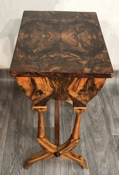 Biedermeier sewing table- side view with top- styylish