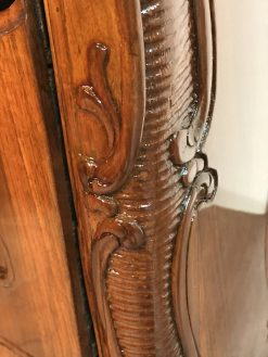 Antique walnut dresser- detail of side carving- styylish