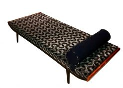 Cleopatra Daybed by Auping, Metal, Teak and Velvet, Netherlands, 1950s