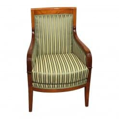 Directoire Bergere Chair France- green gold striped fabric- Styylish