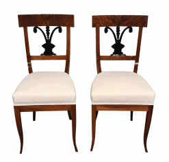 Pair of Biedermeier Walnut Chairs, South German 1820