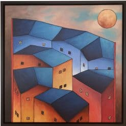 Modern painting- Scott Tubby with house in the evening sun- styylish