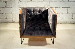 Reclaimed wood- front view of armchair- styylish