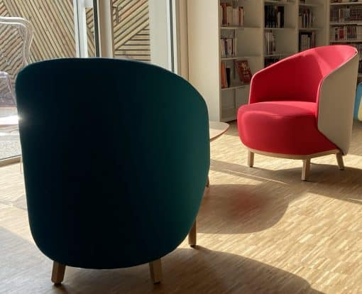 Large Custom made armchair- in red and green- Styylish