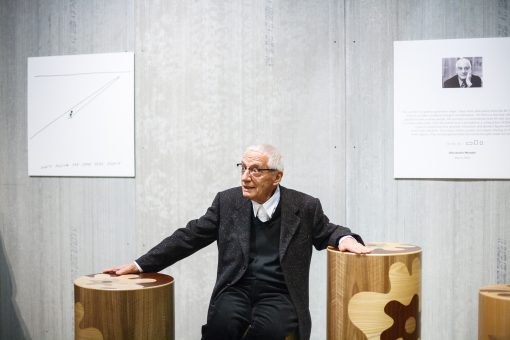 Alessandro Mendini stool- picture with the designer and his creations- styylish
