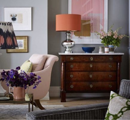 Antique dressers- view of a dresser in a living room- styylish