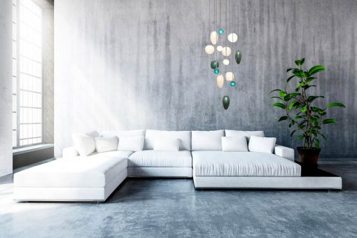 Contemporary Pendant Lights- Vallons Obscure in green and transparent- Styylish