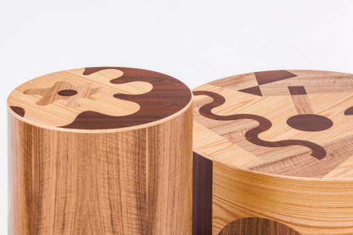 Contemporary coffee table- detail view with stool- Styylish