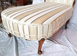 Chaise longue- view of the stripped fabric and the right foot- styylish