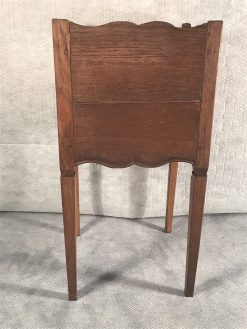 Two provincial nightstands- smaller table- back view- styylish