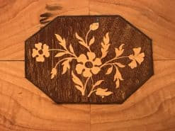 Antique Sewing Table- Biedermeier period- Detail of the flower intarsia- Styylish