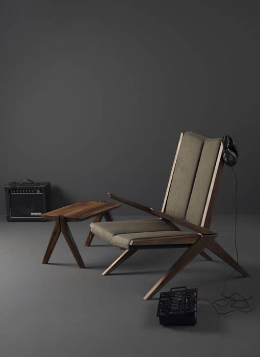 Modern Custom Made Lounge Chair- view in a room with a table- styylish