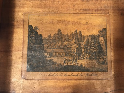 Antique Sewing Table- Biedermeier period- Detail of the print inside- Styylish