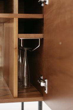 Custom made bar cabinet- detail of the interior with glasses- styylish