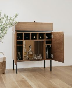 Custom made bar cabinet- view of the front with open doors- styylish