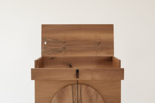 Custom made bar cabinet- detail of the top with open lid view from the front- styylish