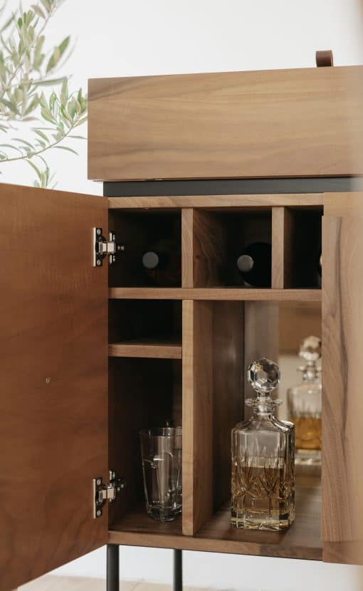Custom made bar cabinet- view of the front with open doors- detail of the left sidestyylish
