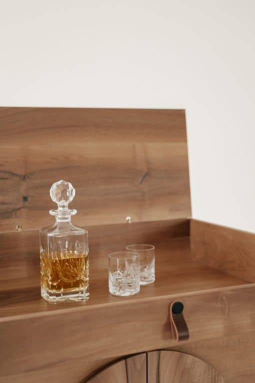 Custom made bar cabinet- detail of the top with open lid- styylish