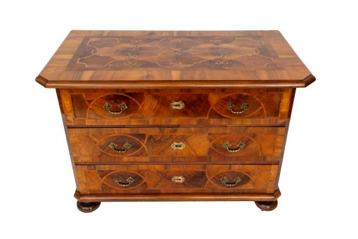 Neoclassical Furniture- view of a chest of drawers with open drawers with top and front- styylish
