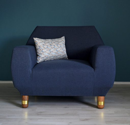 Upholstered Armchair- front view with dark blue fabric- styylish