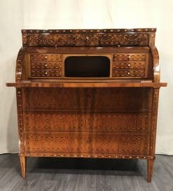 Antique Louis XVI Desk- view with open cylinder top- Styylish