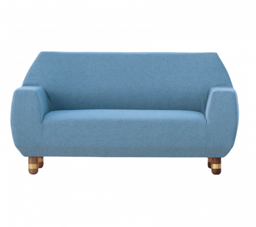 Modern Sofa- View of Sofa and stool with blue fabric- Styylish