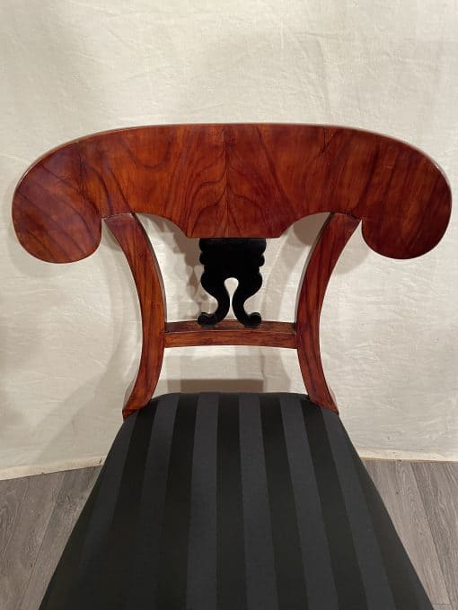 Biedermeier cherry Chair- with black fabric- view of the back rest- Styylish